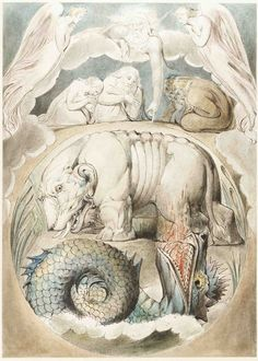 William Blake Behemoth and Leviathan, ca. [Book of Job, no. Morgan Library William Blake and Leviathan, ca. William Blake Art, Book Of Job, Morgan Library, Art Graphique, Fantastic Art, Mythical Creatures, Satan, Great Artists, Tarot