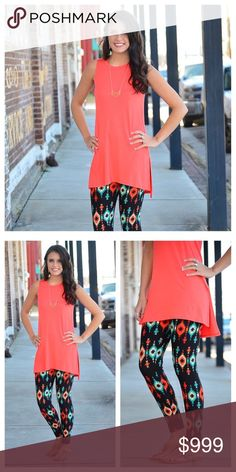 Coming soon!! Coral high low tunic Great spring coral high low tunic!  Like listing to be notified of arrival Tops Tank Tops