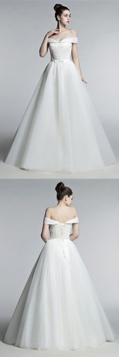 2018 new arrival ballgown wedding dress with off shoulder. Click view more ideas!