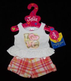 NEW Build-A-Bear Justice LOVED SHORTS SET Clothes Outfit Silver Studs  #G