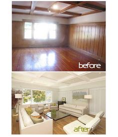 Do you have wood paneling in your house? Consider painting it white. It will give your home an updated look, and white wood paneling is definitely in! Paint Over Wood Paneling, Wood Paneling Makeover, Painted Wood Walls, Painted Panelling, Paneling Ideas, Painted Ceiling Beams, Cover Wood Paneling, Interior Wood Paneling, Paint Ceiling