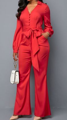 Long Sleeve V Neck Button Front Belted Jumpsuit Classy Outfits, Chic Outfits, Trendy Outfits, Hijab Fashion, Fashion Outfits, Latest African Fashion Dresses, Jumpsuits For Women, Dress To Impress, Fashion Design