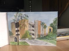 Little Hall Math Building, The University of Florida, for Katie; watercolor