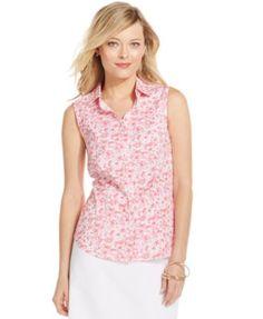 Charter Club Floral-Print Sleeveless Button-Down Top
