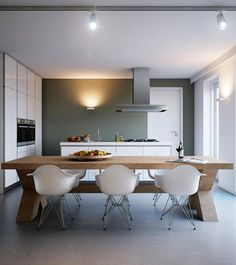 Interior Design, Ceiling Light Stainless Steel Cooker Hood Wall Light Oven Cabinet Kitchen Island Brown Yellowish Wooden Dining Table Undermount Sink White Dining Armchairs And Single Hole Faucet ~ Mesmerizing Bright Interior Design with Earthy Color Decoration