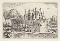 Claes Jansz. Visscher (II) | Kasteel in een landschap, Claes Jansz. Visscher (II), Meester van de Kleine Landschappen, Johannes of Lucas van Doetechum, 1620 | Gezicht op een kasteel in een boomrijk landschap. Om het kasteel loopt een weg waar zich een figuur bevindt. Rechts onder een boom staan twee met bagage bepakte mannen.