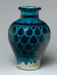 Jar; late 12th -  early 13th century; Syria, Raqqa. Stonepast: painted under transparent turquoise glaze.