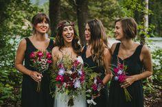 Intimate Mountain Campground Wedding: Kevin + Kathy - Part 1 Camo Bridesmaid Dresses, Black Bridesmaids, Bridesmaid Flowers, Wedding Bridesmaids, Wedding Dresses, Bridesmaid Inspiration, Wedding Inspiration, Campground Wedding, Dream Wedding