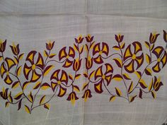 80x22 Cream Indian Tussar Silk Scarf Hand Painted Yellow and Maroon Floral Long Scarf (J13805). $28.99, via Etsy.