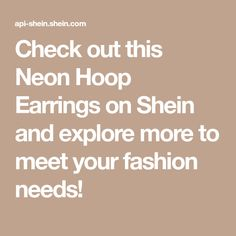Check out this Neon Hoop Earrings on Shein and explore more to meet your fashion needs! Couples Game Night, Meet You, Sexy, Dancer, Chokers, Hoop Earrings, Charmed, Explore, Amazing