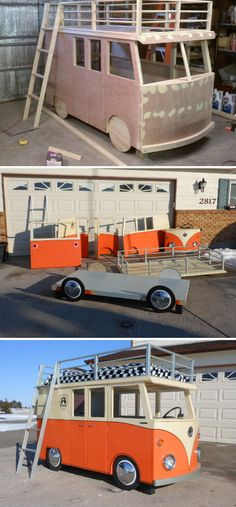 Kids Bus Bed pinning because it looks like the One Direction van. Outdoor Toys For Kids, Diy For Kids, Kid Beds, Bunk Beds, Diy Bett, Bedding Inspiration, Vans Kids, Kids Wood, Play Houses