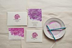 Watercolor Wedding Invitations   Smitten On Paper