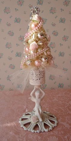 Shabby Bottle Brush Christmas Tree Vintage Angel by IllusiveSwan