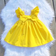 yellow flutter sleeves big bow dress easter by SweetWhitePeony Girls Frock Design, Kids Frocks Design, Baby Frocks Designs, Baby Dress Design, Baby Design, Baby Girl Frocks, Frocks For Girls, Dresses Kids Girl, Kids Outfits