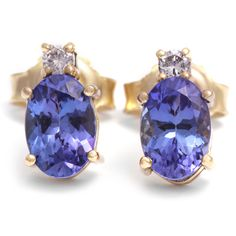 Yellow Gold Tanzanite and Diamond Earrings