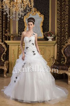 Ball Gown Wedding Dresses One Shoulder Chapel Train Organza Satin Ivory 01001020046