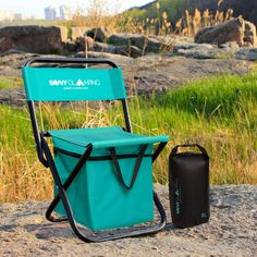 Mini Portable Folding Chair w/ Built In Cooler  Compact Stylish and Easy to Carry Outdoor Chair for Events Picnics Hiking Tailgating Parades