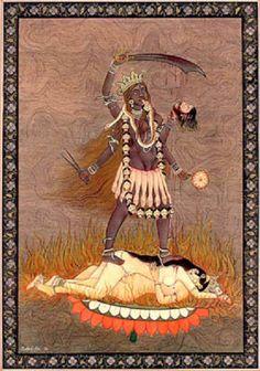 Kali doing Vamachara tantra yoga