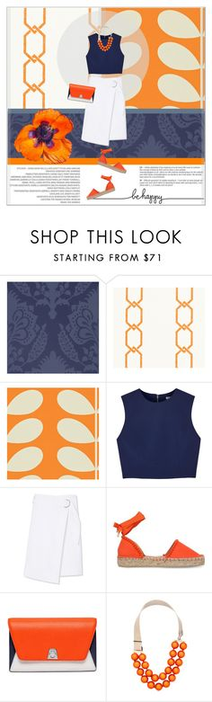 """Color Combo~Orange,blue & white."" by suzanne228 ❤ liked on Polyvore featuring GP & J Baker, Thibaut, Orla Kiely, Alice + Olivia, Tory Burch, Miss KG, Akris and Lucia Odescalchi"