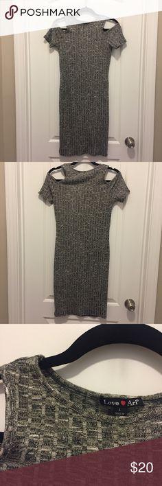 Love Ari cold shoulder knit dress Love Ari heather grey cold shoulder knit short sleeved dress. Size Large Love Ari Dresses