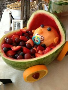 Baby Shower Fruit Baby, Watermelon Baby/carriage With Mixed Fruit.