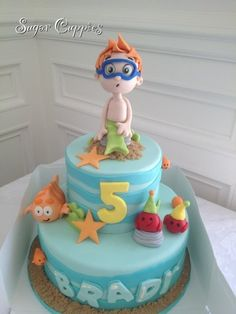 Bubble Guppies cake! Completely edible and handcrafted. Www.sugarcuppies.com check out our board for more bubble guppies inspiration.