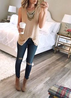flowy tank top jeans brown boots booties