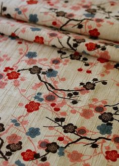 Japanese kokka discontinued sakura by carol-san Motifs Textiles, Textile Fabrics, Textile Prints, Textile Patterns, Textile Design, Fabric Design, Print Patterns, Japanese Textiles, Japanese Patterns