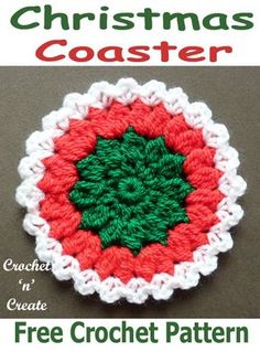 Christmas Coasters Free Crochet Pattern – Crochet 'n' Create Make this crochet coaster in green, red and white for Christmas … Christmas Coasters, Crochet Christmas Ornaments, Christmas Crochet Patterns, Holiday Crochet, Crochet Gifts, Crochet Yarn, Crochet Flowers, Free Crochet, Christmas Crafts