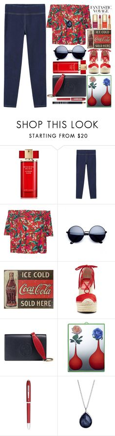 """Flowers Mirror"" by grozdana-v ❤ liked on Polyvore featuring H&M, Estée Lauder, MANGO, Dolce&Gabbana, Vince Camuto, Gucci, Seletti, Cross, Ippolita and Lord & Berry"