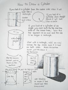 How to Draw Worksheets for Young Artist: How to Draw a Cylinder, Easy lesson and Worksheet. Read the notes at the blog. drawinglessonsfor...