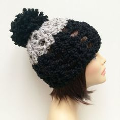 """FREE SHIPPING - Crochet Chunky Beanie Hat with Pom Pom - Black, Gray Coupon code """"Pin10"""" saves you 10%! #christmas #gift #giftguide #giftsforher #crochet #etsy #yarn"""