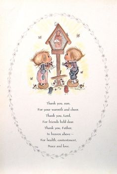 "Betsey Clark Precious Moments - ""Thank You Sun"" - 1972 Vintage Book Page"