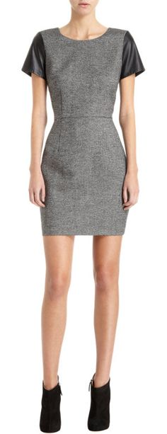 Barneys New York CO-OP Leather Sleeve Tweed Dress