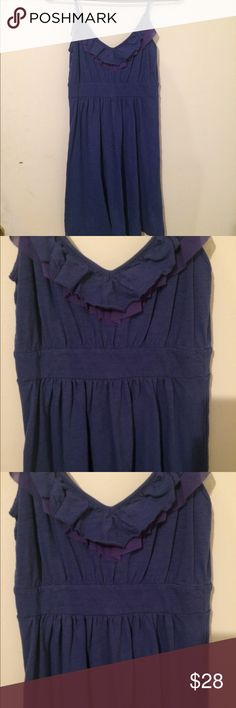 🏄🏼‍♀️just in Banana Republic cotton dress Adorable Banana Republic cornflower blue cotton dress with double ruffle front placket, spaghetti straps, slight v-neck, fitted bodice, pullover style XS worn once Banana Republic Dresses