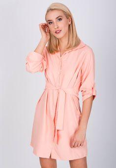 Krátke košeľové šaty broskyňovej farby - ROUZIT.SK Rompers, Shirt Dress, Shirts, Dresses, Fashion, Vestidos, Moda, Shirtdress, Fashion Styles