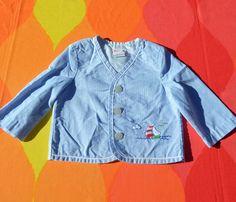 vintage 80s kid's seersucker jacket SAIL BOAT sailor by skippyhaha