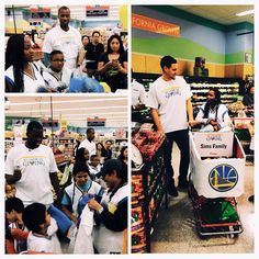 Earlier today, Klay Thompson, Draymond Green, Assistant Coaches Jarron Collins and Luke Walton, along with #Warriors Community Ambassador Adonal Foyle treated five Bay Area families to a holiday shopping spree at Lucky Supermarkets. #NBAGiveBIG