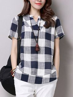Plus Size Cotton Linen Blouses Female 2017 Summer Women's Casual Short Sleeve V-Neck Plaid Shirts Blouse Tops Cheap Fashion, Modest Fashion, Fashion Outfits, Top Mode, Western Tops, Hijab Style, Plaid Shorts, Short Tops, Long Tops