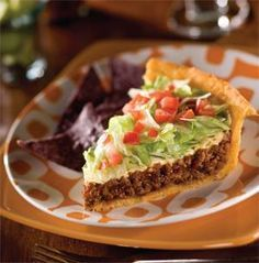 """Taco Pie on a mashed potatoe """"Crust"""" You'll Need: 1/4 cup butter 2/3 cup milk 1 package Taco Bell seasoning mix (Copycat recipe on Budget101) 2 1/2 cups mashed potato flakes (or left over mashed potatoes-omit butter & milk) 1 pound ground beef or Turkey 1/2 cup chopped onion 1/2 cup salsa 1 cup shredded lettuce 1 medium tomato, diced 1 cup shredded cheddar cheese Sour cream, optional"""