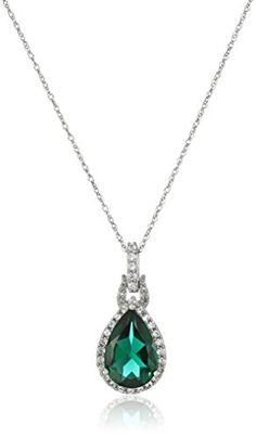 10K White Gold Created Emerald with Created White Sapphire Drop Pendant Necklace, 18″ #deals