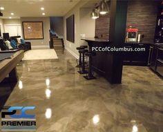 Basement Flooring Metallic Epoxy Finish Stained Concrete Columbus Ohio - Epoxy Floor Basement - Welcome Haar Design Epoxy Basement Floor Paint, Concrete Basement Floors, Painting Basement Floors, Best Flooring For Basement, Basement Floor Plans, Basement Walls, Diy Flooring, Basement Ideas, Basement Inspiration