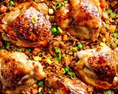 One Pan Asian Chicken and Rice equals crispy skinned chicken full of incredible Chinese-inspired flavours sits on top of a fried rice inspired skillet! | cafedelites.com