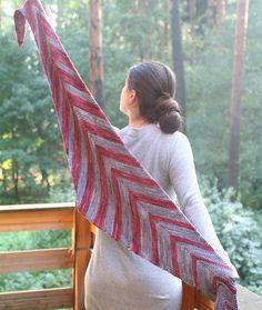 Red Katana pattern by Svetlana Volkova. malabrigo Arroyo in Jupiter and Plomo colorways. Knitted Shawls, Crochet Shawl, Knit Crochet, Knitting Scarves, Katana, Knitting For Beginners, Shawls And Wraps, Knitting Projects, Knitting Patterns