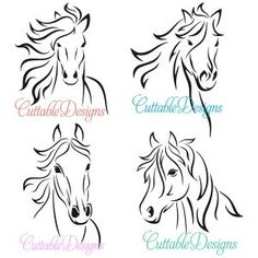 Horse Stallion Lined Art Cuttable Designs Horse Silhouette, Silhouette Cameo, Horse Head, Horse Art, Tattoo Painting, Horse Stencil, Free Horses, Horse Crafts, Tatoo
