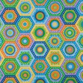 Aqua Crochet Hexagons Cotton Calico Fabric