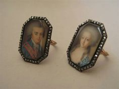Pair of rings representing the crown prince João aged 18 (future king João VI of Portugal, Brasil and Algarves) and the princess of spain Carlota Joaquina aged 10 (Future Queen Carlota Joaquina of Portugal, Brasil and Algarves). Made by the portuguese jeweler David Ambrósio Pollet in 1789 for the royal couple. Gold, Silver, brilliant cut diamonds and ivory.