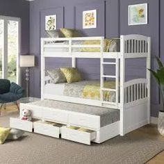 Harper & Bright Designs Espresso Twin Bunk Bed Over with Trundle Bed and End Ladder-SK000067AAP - The Home Depot Bunk Bed With Trundle, Full Bunk Beds, Kids Bunk Beds, Wood Twin Bed, Solid Wood Bunk Beds, Bunk Beds With Drawers, Bunk Beds With Storage, Best Platform Beds, Shared Bedrooms