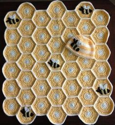 Bumble bee crochet baby blanket