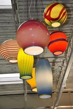 Chinese Lantern Glass Pendants by Illuminata Custom Glass Lighting
